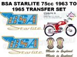 BSA Starlite 75cc 1963 to 1965 Transfer Decal Set Blue